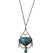 Arts and Crafts Gold Turquoise and Pearl Necklace, English C.1900.