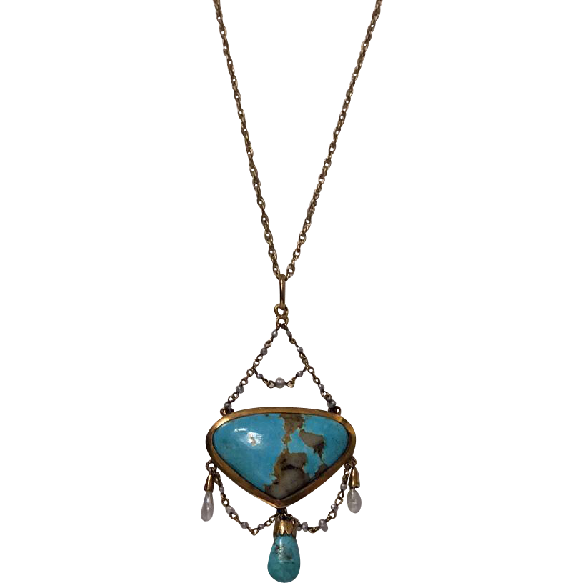 Arts and crafts gold turquoise and pearl necklace english for Pearl arts and crafts closing
