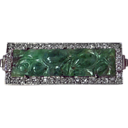 18K carved Jadeite Jade and Diamond Brooch.