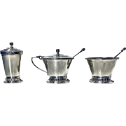Art Deco style English Silver Condiment Set, Birmingham 1947-51, Thomas Ducrow