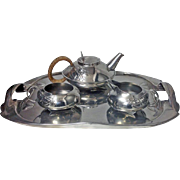 Archibald Knox Liberty Tudric pewter Tea set and Tray, C.1905.