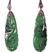 Pair of carved Jade drop Earrings, 14K white gold fitments, C.1940
