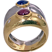 18K Sapphire, Ruby, Diamond two color gold double band Ring, Ming's C.1970