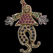 14K gem articulated Clown, C.1980