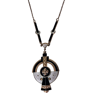 Art Deco enameled Silver necklace, Norway C.1930 Nils Elvik