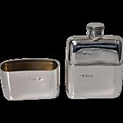 English heavy Solid Silver Flask, London 1909, Goldsmiths & Silversmiths Co