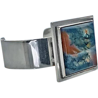 Rare Sterling Silver Moss Agate Bangle, Bent Knudsen Denmark C.1960.