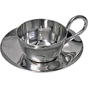 Rare Christopher Dresser designed Silver Miniature Cup and Saucer, 1892