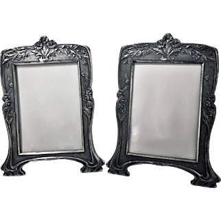 Rare Christofle Art Nouveau Pair of Photograph Frames, C.1900