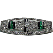 Art Deco Platinum, Diamond, Emerald and Onyx plaque Brooch, France C.1910.