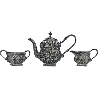 Rare Kashmir  Silver Tea set for Western market, C.1910
