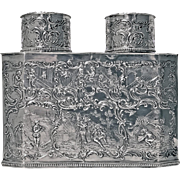Very Rare 19th century double compartment Silver Tea Caddy, Germany C.1890