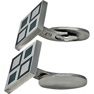 Georg Jensen 'Mosaic' green enamel Cufflinks, C.1980 No 87