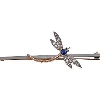 Antique Platinum Gold Gem Dragonfly, English C.1910.