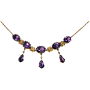 Antique Gold Amethyst Necklace, American, C.1910.
