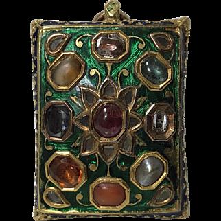 Indian Gold Gem set enamel Pendant poss North Indian, 19th century