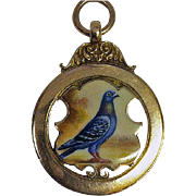 Antique English Gold Enamel Pigeon Pendant, Birmingham 1899