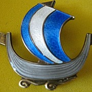 Pin Enamel Vintage Viking Long Boat Signed Norway Sterling Silver Aksel Holmsen