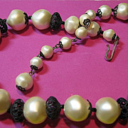 Vintage Signed Laguna Fat Baroque Faux Pearl & Lacy Black Necklace