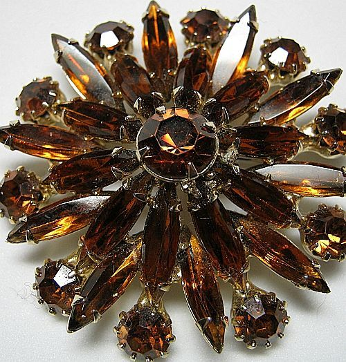 Vintage Honey Topaz Navettes Rounds Fall Rhinestone Flower Brooch/Pin Gold Tone