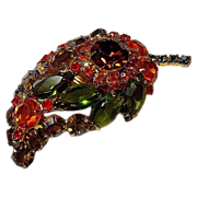 Vintage Fall Leaf Brooch/Pin Colorful Orange/Green/Topaz Rhinestone Gold Tone