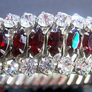 Vintage Expansion Adjustable Bracelet 3 Row Red & Clear Rhinestone Silver Tone