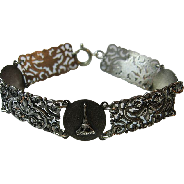 Vintage Ornate Bracelet 1960's Silver Tone French Paris Tourist