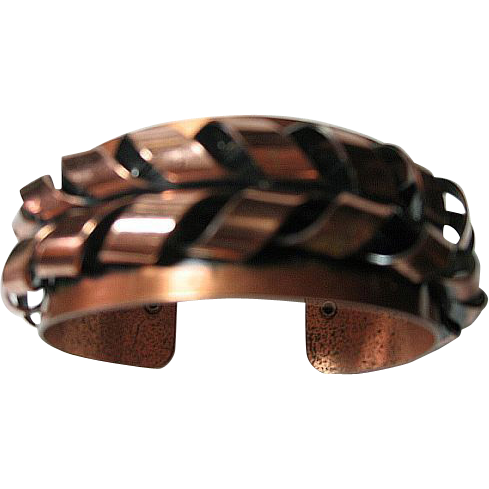 Vintage Signed Renoir Copper Cuff Bracelet Flame