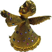 Signed Dodds Angel Christmas Pin/Brooch Vintage 60's Pink/Blue Aurora Borealis Gold Tone