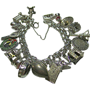 Size Small Sterling 925 Silver Charm Bracelet & 22 Charms