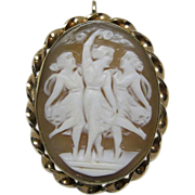 Three Graces Gold Filled Carved Shell Cameo Brooch Pendant Vintage