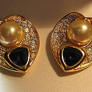 Nolan Miller Earrings Heart Faux Sapphire & Sim Pearl Clips Gold Tone