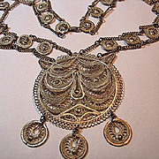 Vintage Filigree Tiger Cat Silver Tone Necklace/Pendant