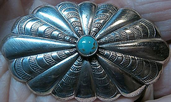 Pin/Brooch Signed Bell Sterling 925 Silver/Turquoise So Western Concho
