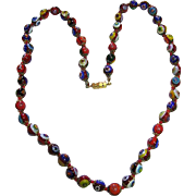 Colorful Venetian Millefiori Murano Old Hand Crafted Art Glass Bead Necklace