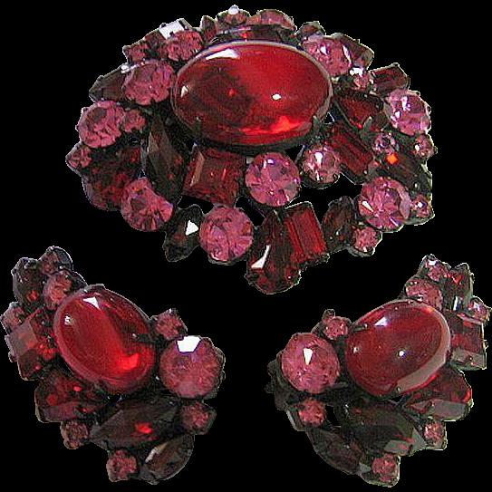 Vintage Signed Robert Deep Red & Pink Rhinestone Japanned Brooch & Clip Earrings Set