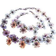 Vintage Necklace & Small Bracelet Flower Set Enamel White, Lavender & Purple Rhinestones