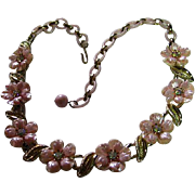 Signed Coro Pink & Aurora Borealis Rhinestone Flower Necklace