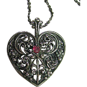 Franklin Mint Filigree Sterling Silver 925 Fancy Heart Pendant/Necklace