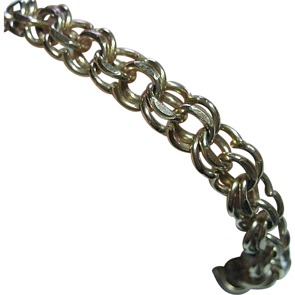 Vintage 12kt Gold Filled Double Link Charm Bracelet