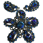 Vintage Bermuda  Blue Rivoli Rhinestone & Antique Gunmetal Brooch & Earrings Signed Weiss Set