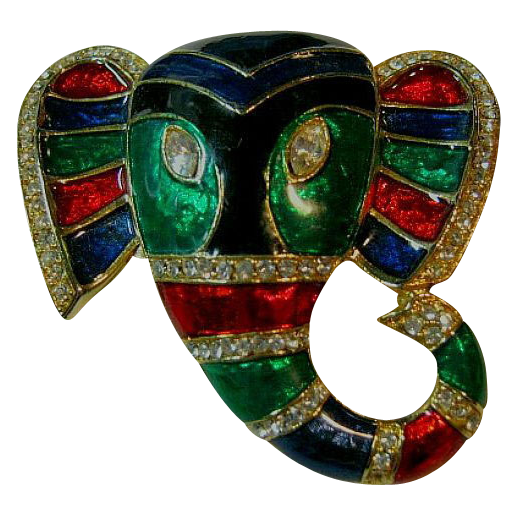 Unusual Colorful Enamel & Rhinestone Elephant Brooch/Pin Gold Tone