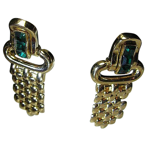 Signed Givenchy Classy Dangles Emerald Green Rhinestone/Gold Tone Pierced Post Earrings