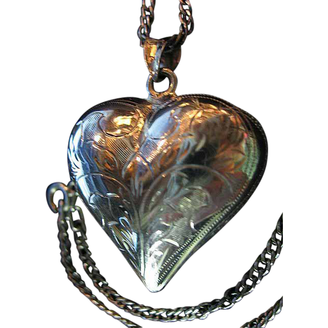 Sterling Silver 925 Big Engraved Puffy Heart Pendant/Necklace