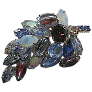Blues/Purple Multi-Colored Dimensional Rhinestone Leaf  Brooch/Pin