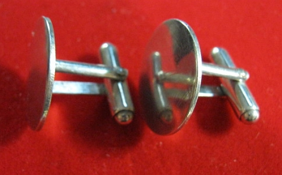 Simple Round Men's Cuff Links Sterling Silver 925