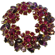 Signed Trifari Vintage Rhinestone Flower Wreath Brooch/Pin Fuchsia/Purple/Lavender