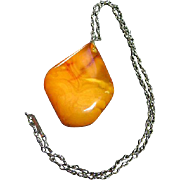 Baltic Egg Yolk Amber Chunky Pendant/Necklace