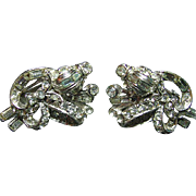 Stunning Vintage Signed Hollycraft Clips Earrings Clear Baguettes & Rounds Rhinestone Silver Tone Clip
