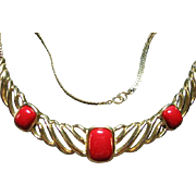Signed Trifari Vintage Faux Red & Gold Tone Necklace
